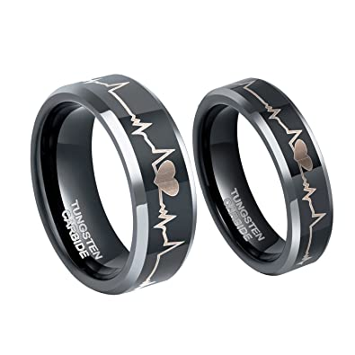 6mm ekg heartbeat wedding band tungsten carbide anniversary promise rings for couples size 4 - Couples Wedding Rings