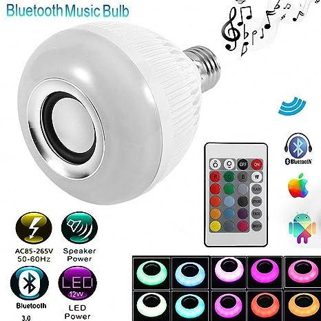 Bombilla musical: Bombilla LED RGB E27de 12W que cambia de color