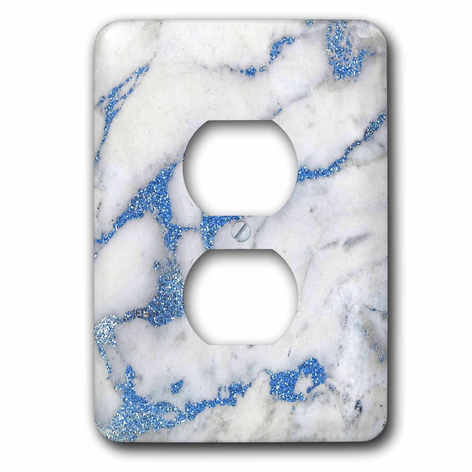 3dRose LSP_275088_6 Image of Luxury and Trendy Blue Metal Glitter Veins Gray Marble Plug Outlet Cover,