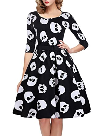 50 Vintage Halloween Costume Ideas OTEN Womens Polka Dot Sugar Skull Vintage Swing Retro Rockabilly Cocktail Party Dress Cap Sleeve $28.99 AT vintagedancer.com