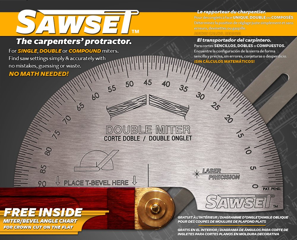 Sawset: The Miter Saw Protractor. Reinvented to Eliminate Math! Designed by Carpenters for Carpenters. by Sawset (Image #3)