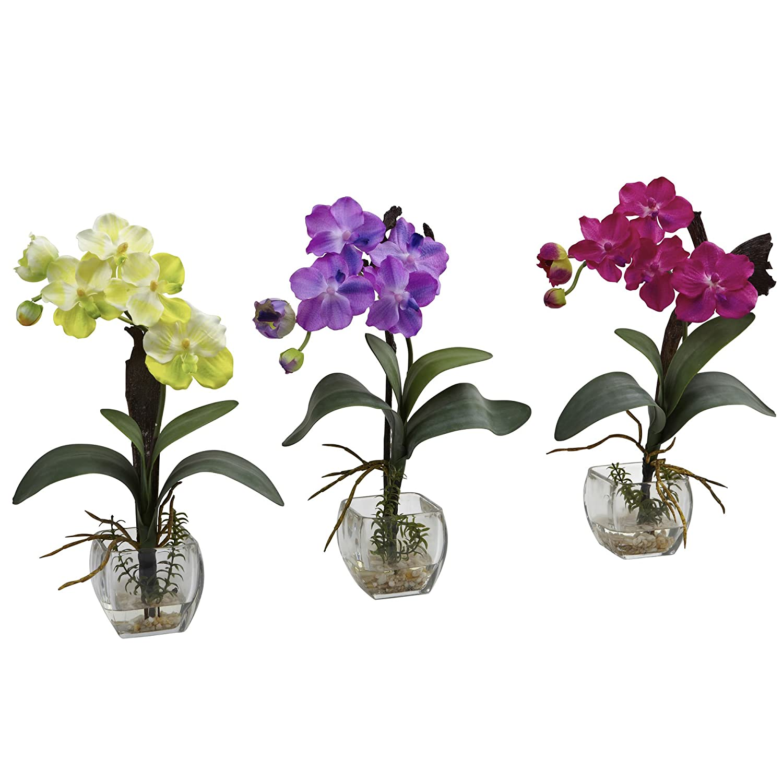 Nearly Natural 1312-S3 Vanda Orchid Arrangement, Mini, Yellow/Purple/Beauty, Set of 3