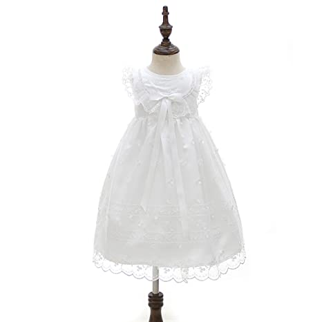 Glamulice Baby Girl Newborn Lace Christening Gown Baptism Dress Infant Satin Mary Jane Outfit
