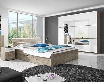 DreamsHome Schlafzimmer Set Tara Schwebetürenschrank X NaKos - Schlafzimmer komplett mit lattenrost und matratze