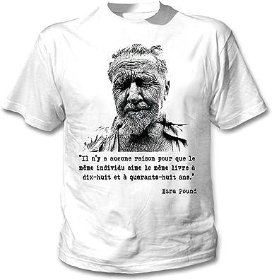 teesquare1st Ezra Pound Aucune Raison Camiseta Blanca para Hombre de Algodon: Amazon.es: Ropa y accesorios