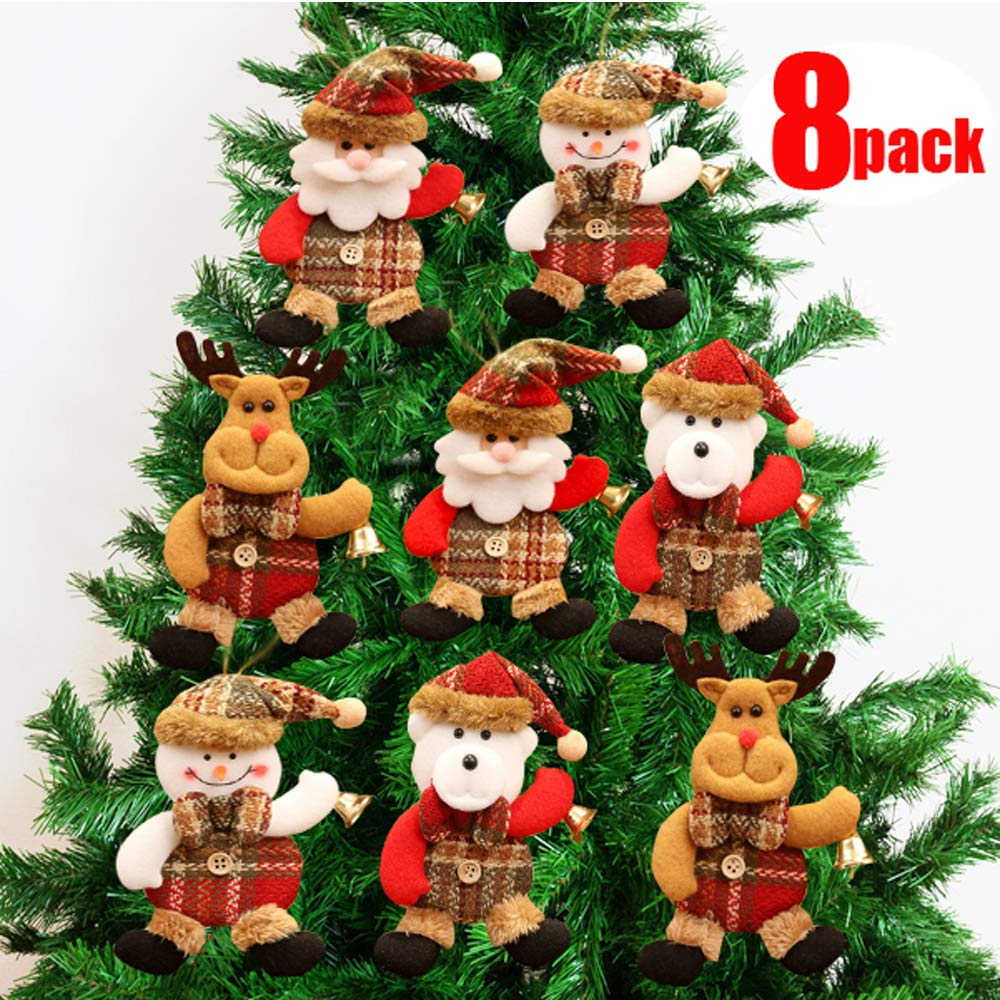 Volaremall Christmas Plush Ornaments, Xmas Hanging Decoration Santa Clause Snowman Reindeer Doll for Christmas Tree Pendant Stocking Ball Bell Holiday Party Decor