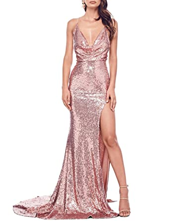 7ba3af12bddd JASY Multi Style Rose Gold Sequined Mermaid Mermaid Prom Dresses Long  Bridesmaid Dresses Women Available