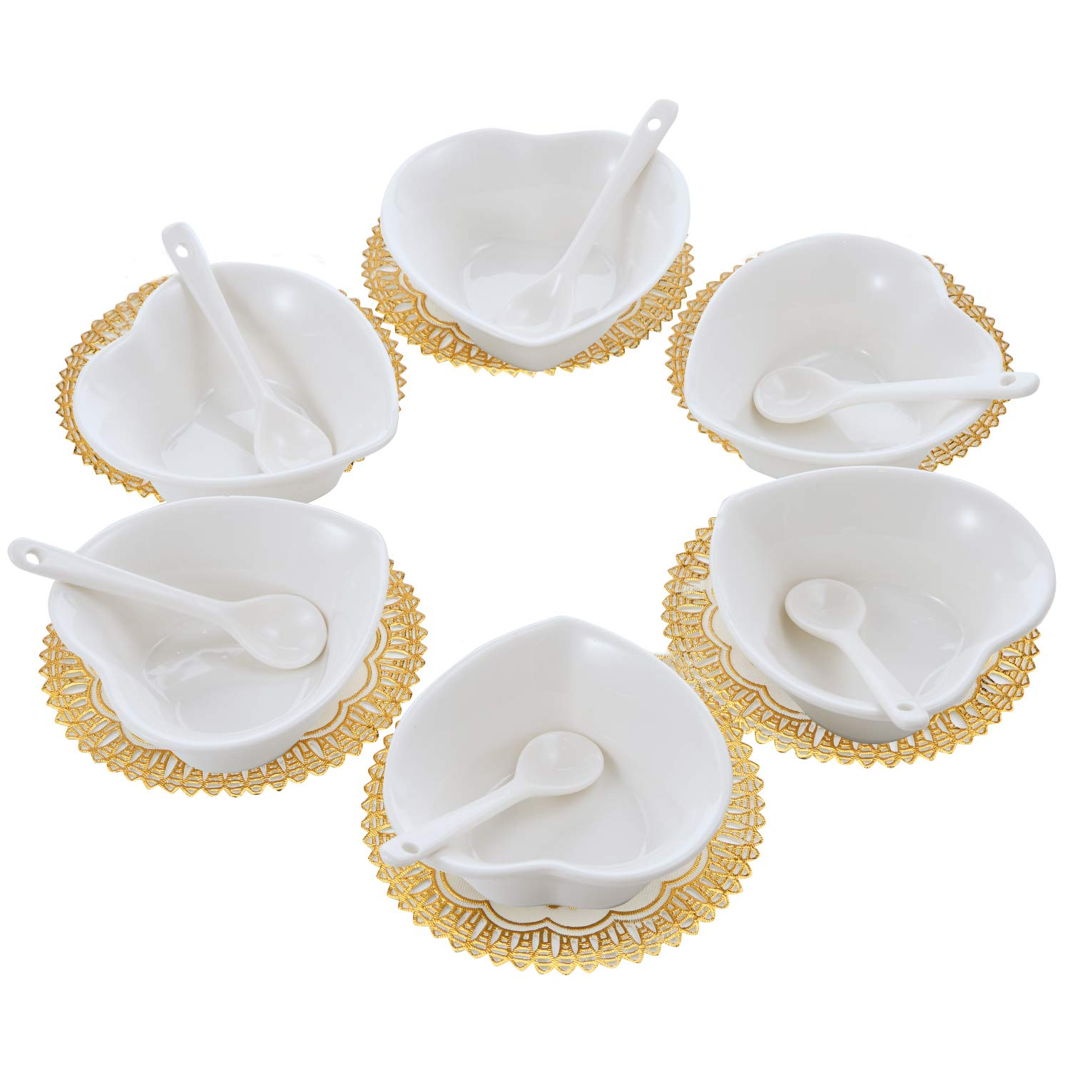 6PCS Small Porcelain Ramekins Condiment Dishes with Spoons, Ceramic Dipping Cups, Snack Appetizer Serving Tray, Sauce Dish Plate, Dessert and Ice Cream Bowls, White Heart with 6pcs Dish Holders by handrong