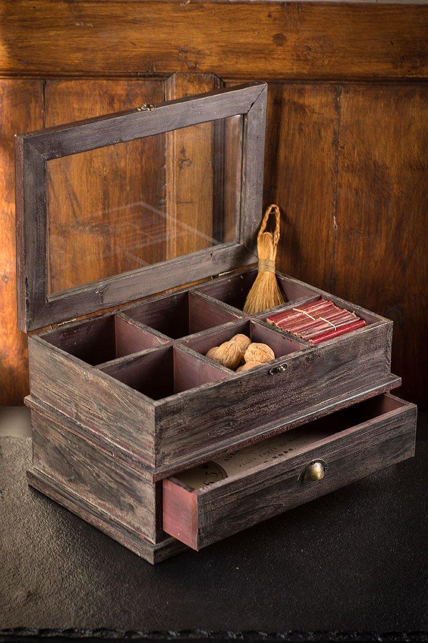 Vagabond Vintage, Dark Wooden Compartment Box