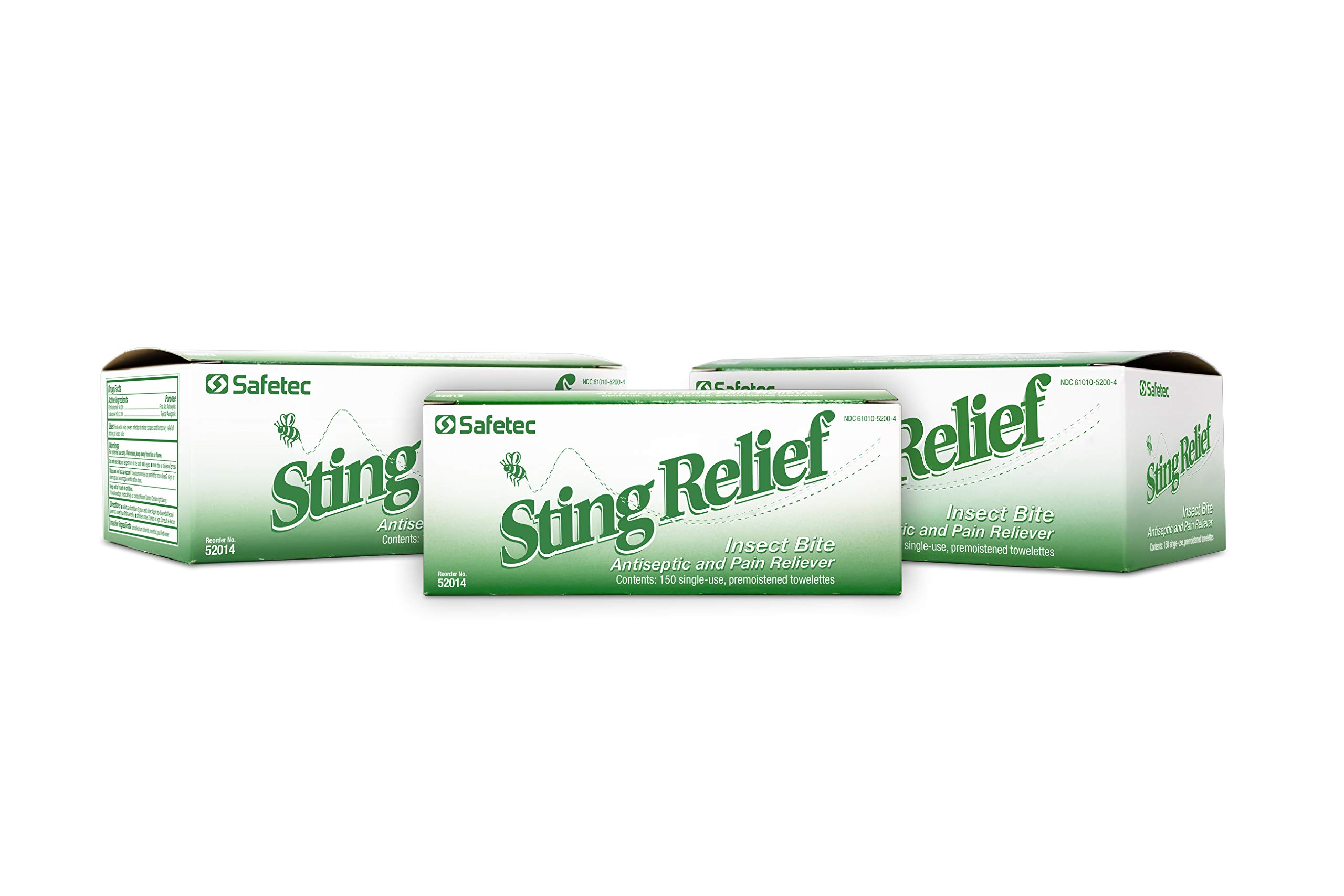 Safetec Sting Relief Wipes 150ct Box (3 Pack of 150ct Wipes - 450 Sting Wipes) for Insect Bites & Stings by Safetec