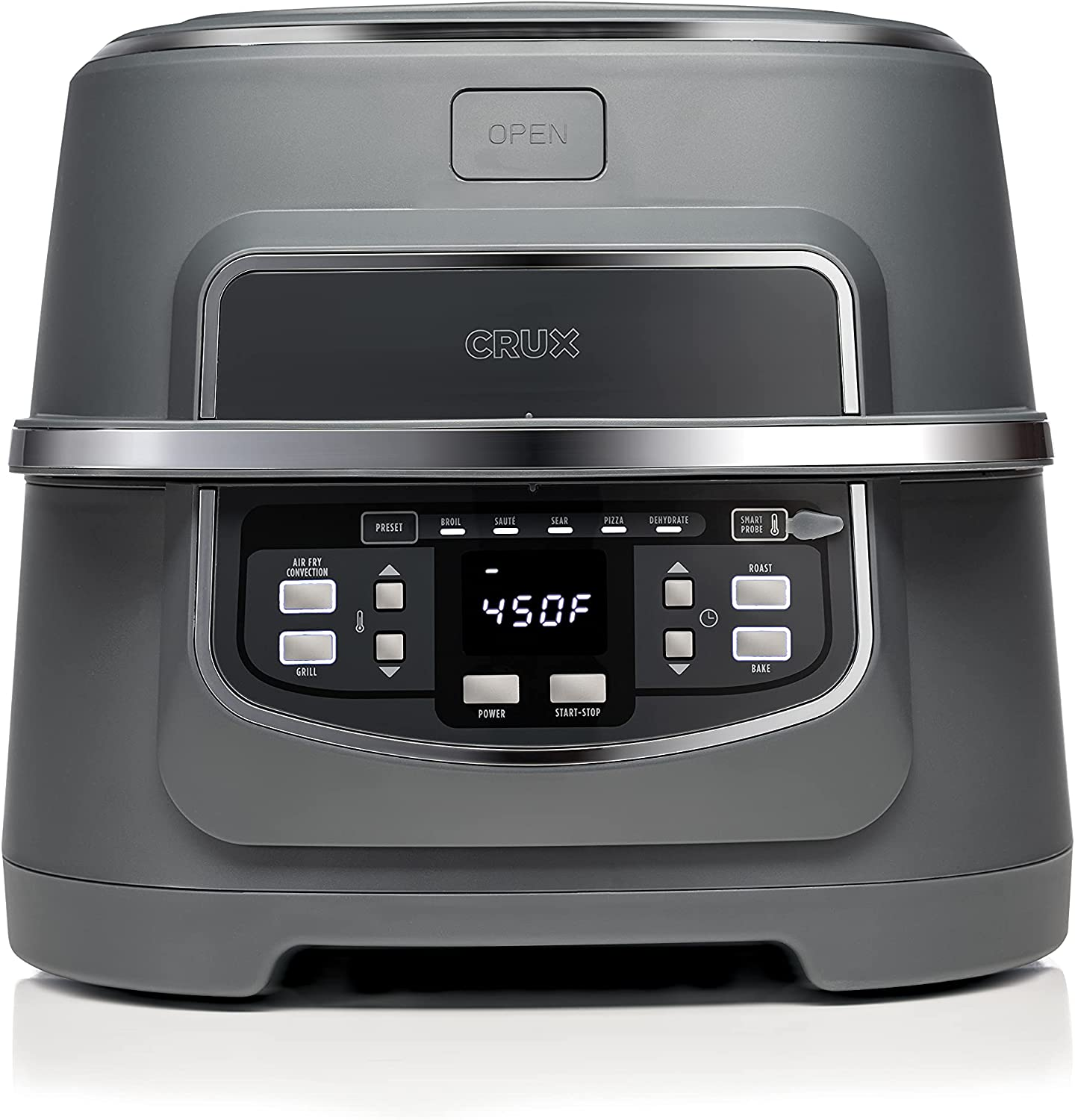 """CRUX Indoor Grill & Air Fryer, Fast and Easy Grilling, Roasting, Baking, Sautéing, Searing and Oil Free Air Frying, Recipe Book Included, 12"""" x 12"""" Grill, 9 QT Cook Pot, Matte Gray"""