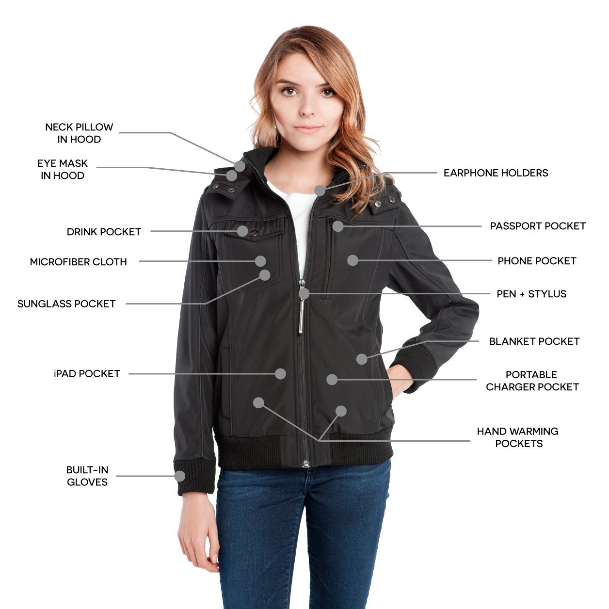 Amazon.com: Baubax Travel Jacket - Bomber - Female - Black - Small ...
