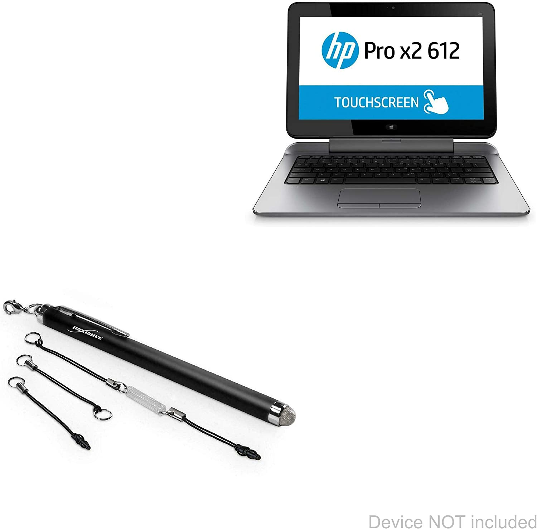 HP Pro x2 612 G2 Tablet Stylus Pen, BoxWave [EverTouch Capacitive Stylus] Fiber Tip Capacitive Stylus Pen for HP Pro x2 612 G2 Tablet - Jet Black