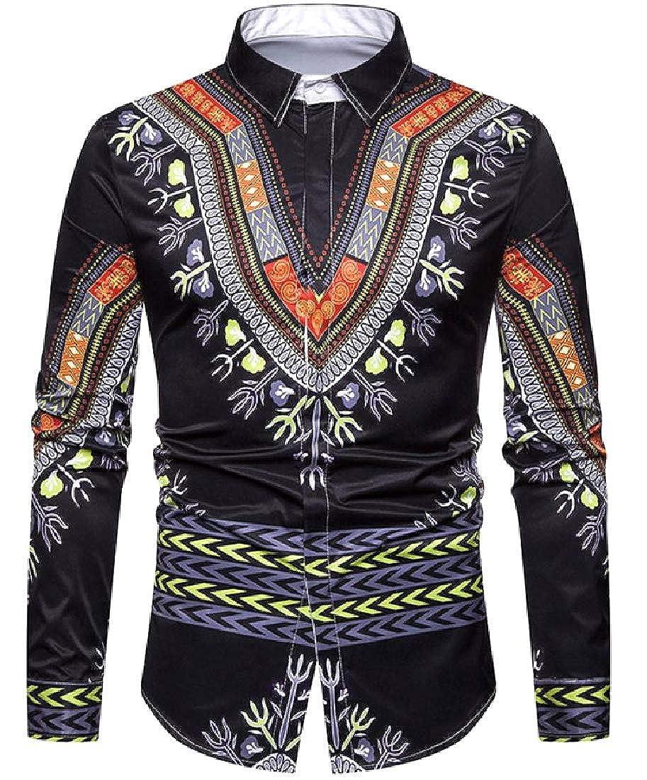Unastar Mens African Print Ethnic Style Slim Casual Western Shirt