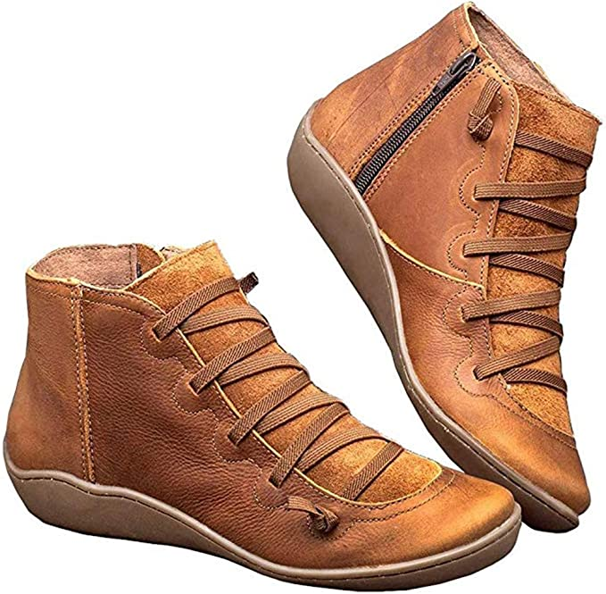 Womens Casual Thick Sole High Top Sneakers Round Toe Platform Flat Ankle Booties with Zipper