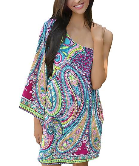Vestidos Playa Mujer Cortos Elegantes Vintage Etnico Estilo Estampadas Niñas Ropa Hippies Boho Vestidos Verano Un