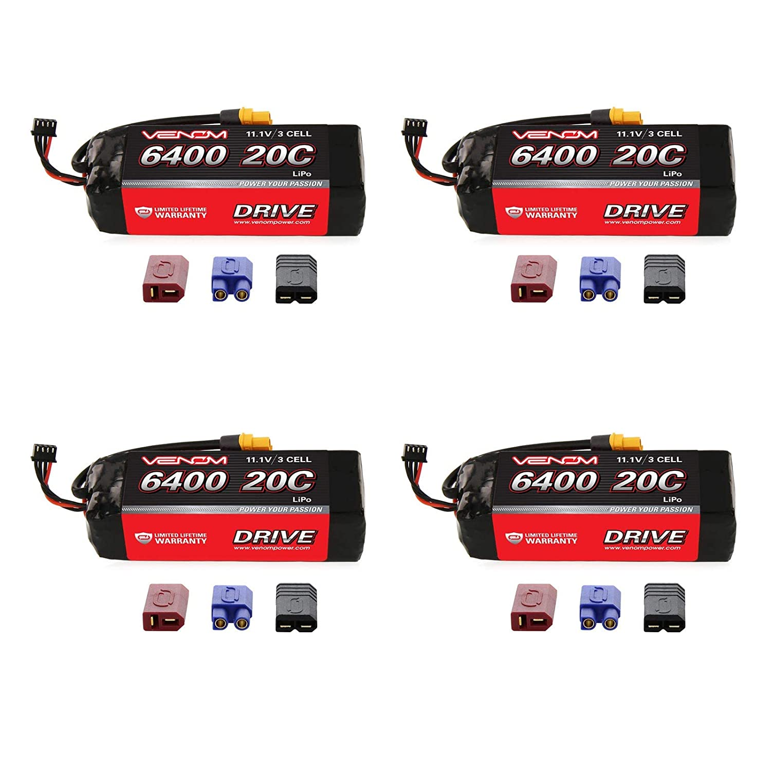 Venom 20C 3S 6400mAh 11.1 LiPO Battery with Universal Plug System x4 Packs