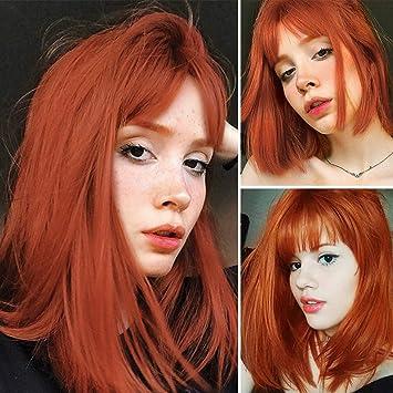 Amazon.com: WUJIE Peluca roja con brazaletes de pelo ...