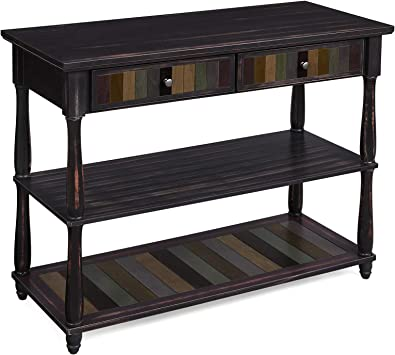 Amazon Com Vasagle Console Table With Colorful Drawers 3 Tier Entryway Table With Shelves For Living Room Dining Room Hallway Assembly Without Tools Turned Wood Legs Country Brown Furniture Decor