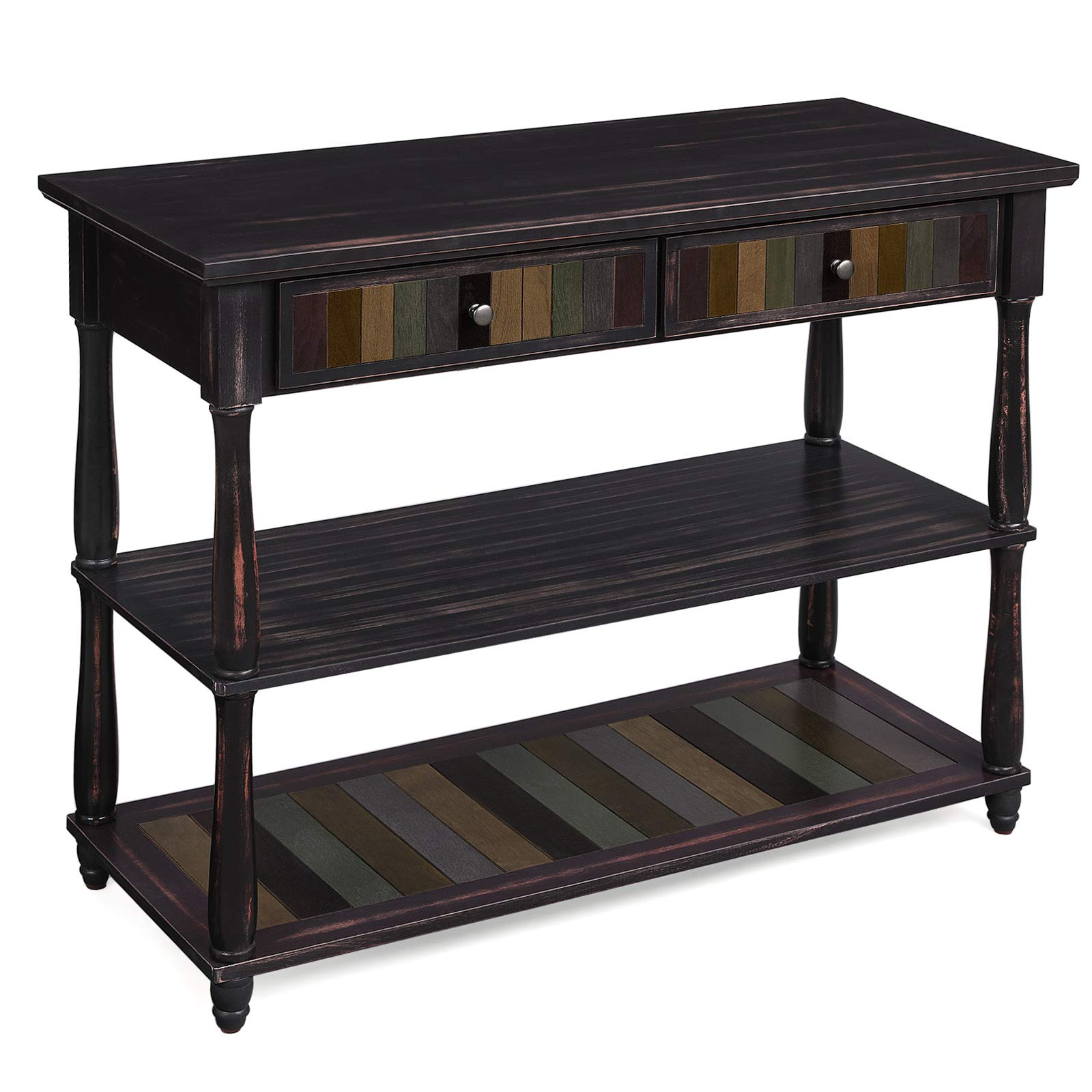 VASAGLE Console Table with Colorful Drawers, 3-Tier Entryway Table with Shelves, for Living Room, Dining Room, Hallway, Assembly Without Tools, Turned Wood Legs, Country Brown ULCT15GL by VASAGLE
