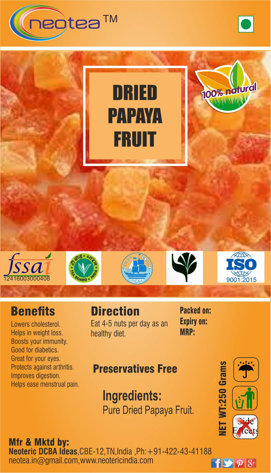 Neotea Dried Papaya Fruit (250g)