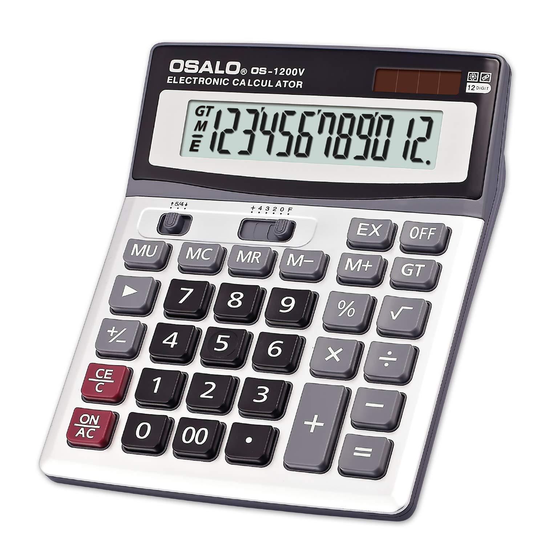 Calcolatrice elettronica multifunzione OSALO 1200V 12 cifre Ampio display Pulsante grande Dual Power Calcolatrice per cancelleria per ufficio FairytaleMM