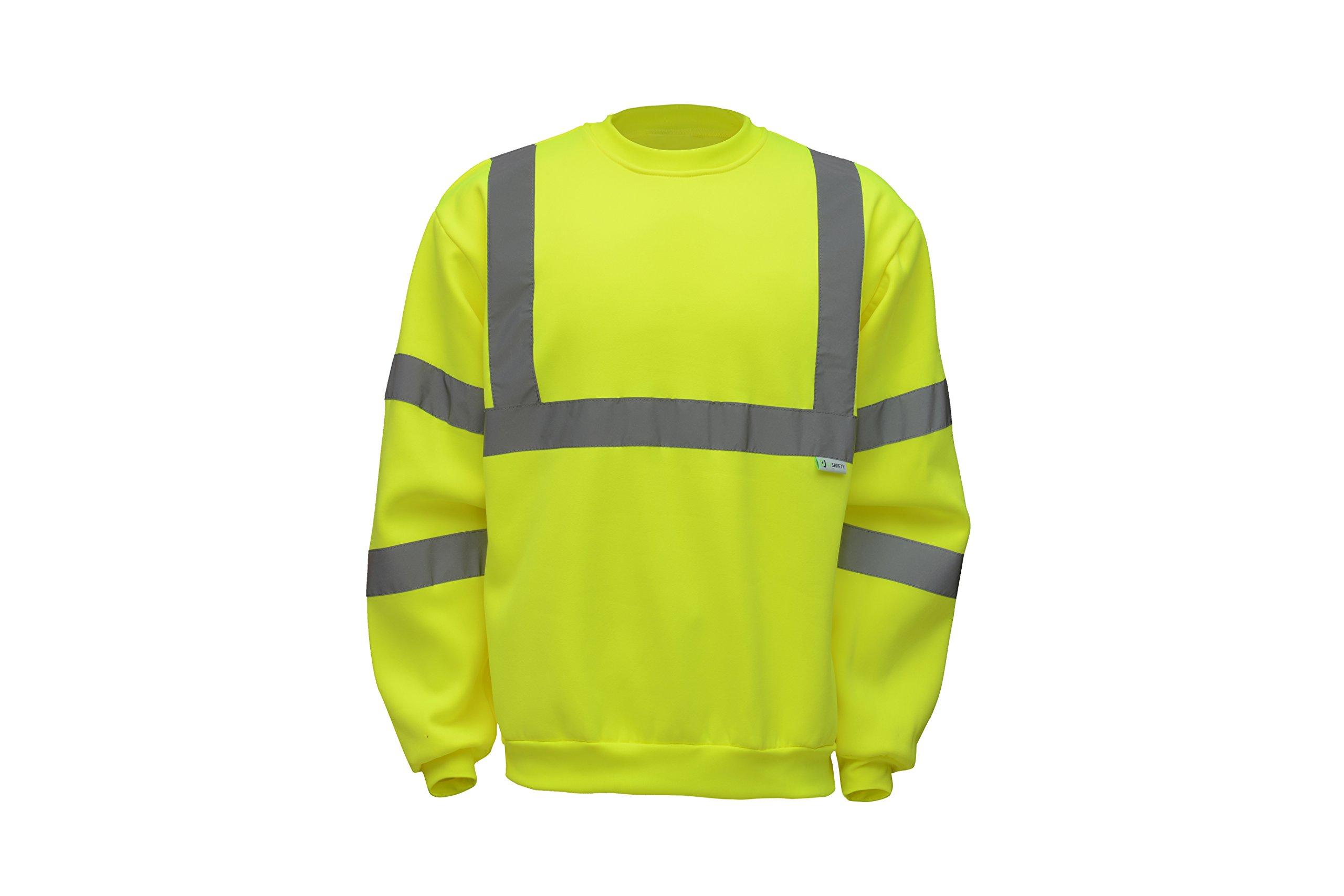 CJ Safety CJHVSS3002 ANSI Class 3 High Visibility Crew Neck Fleece Safety Sweatshirt (Extra Large)