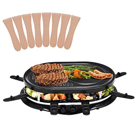 costway Raclette Grill Party Grill – Parrilla eléctrica para raclette parrilla Barbeque Barbacoa 1200 W con