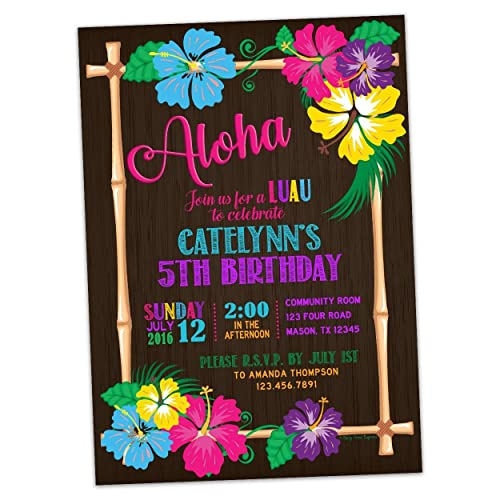 Amazon Com Hawaii Luau Birthday Invitations Tropical Party Invite
