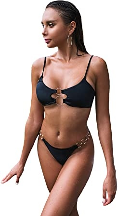 MakeMeChic Womens Chain Linked Triangle High Cut Thong Bikini Swimsuit