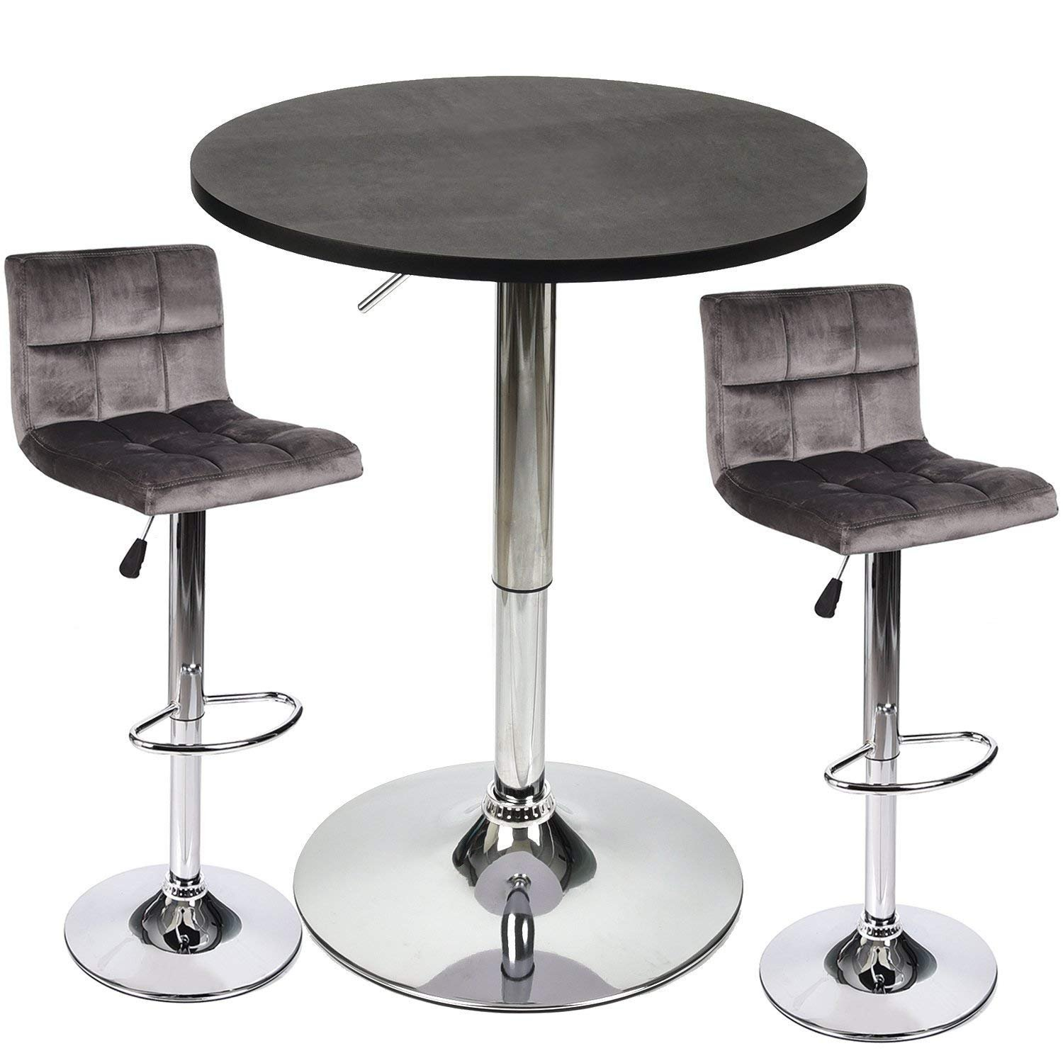 3 Piece Bar Table Stools Set - Height Adjustable Table with Swivel Bar Chairs Set - Bistro Pub Kitchen Dining Furniture (Set 5)