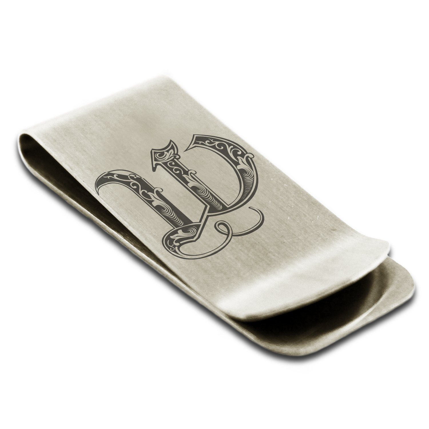 Stainless Steel Letter W Initial Royal Monogram Engraved Money Clip Credit Card Holder