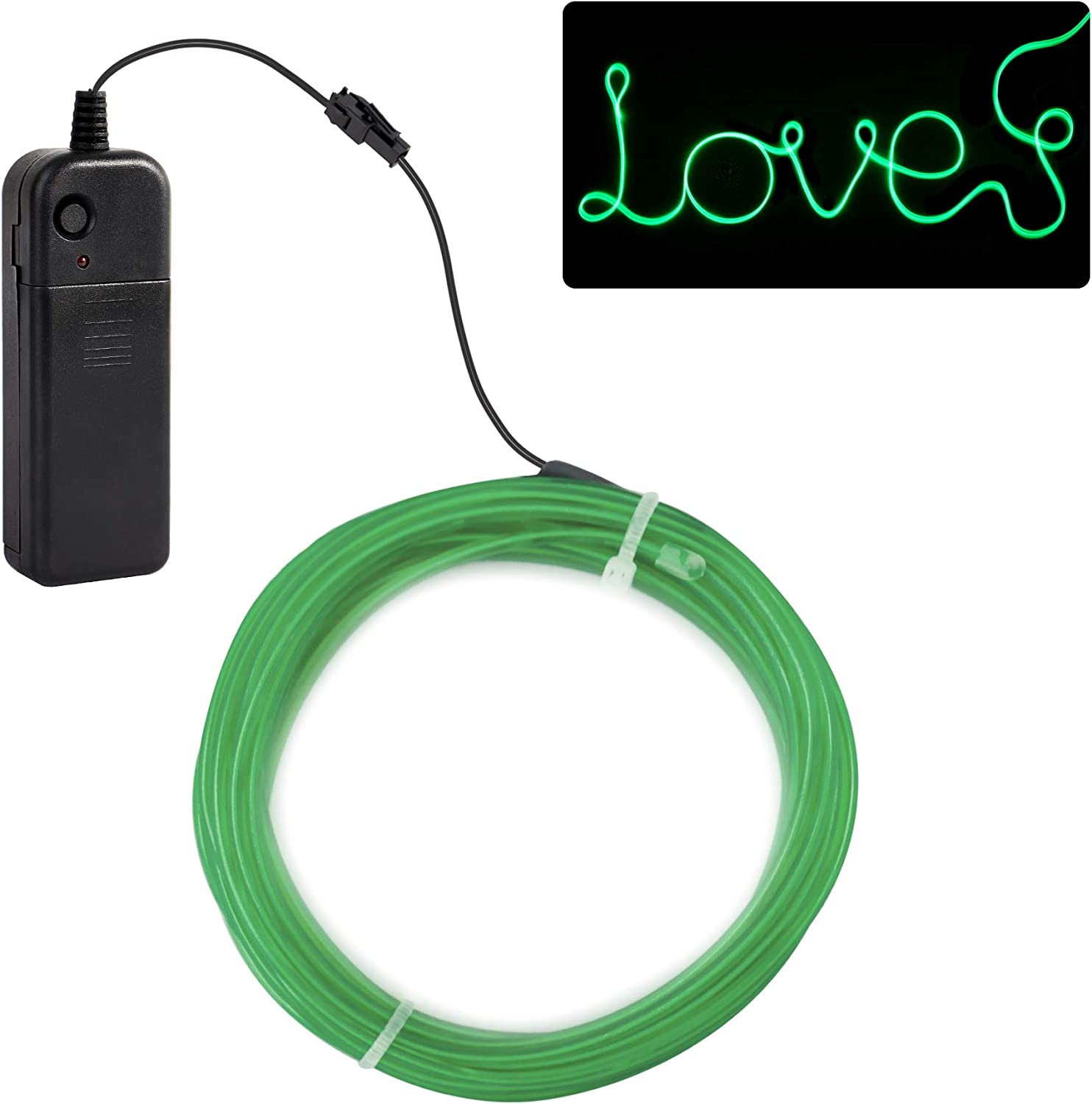 jiguoor EL Wire with Battery Pack 15ft / 5M Super Bright Halloween Light Neon Tube Neon Light Wire Glowing strobing of 360 Degrees of Illumination for Festival, Party Decoration(Green,15ft/ 5M)