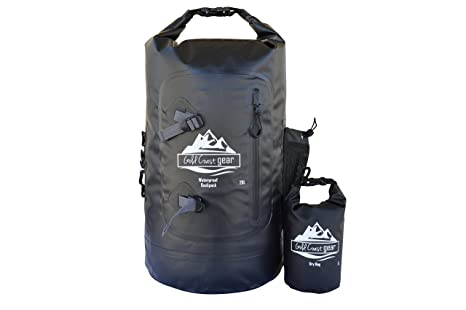 de4b30a9615f Gold Coast gear Dry Bag Backpack Waterproof 28L with Padded Straps (Extra  Dry Bag Included