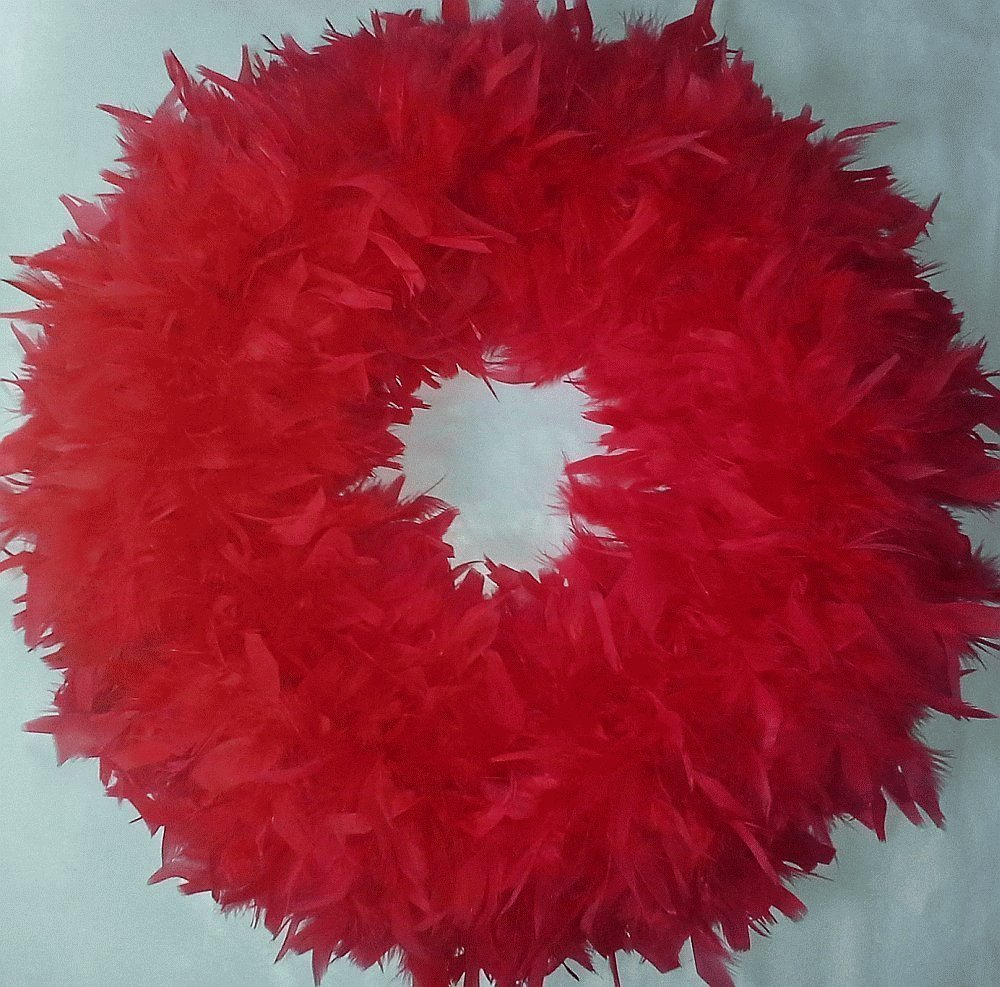 Fluffy Red Valentines Day Feather Wreath XL - Nice Christmas Accent Wreath...SmileyMe Brand !