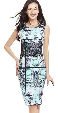 La Vogue Women Doodle Print Pencil Dress Lace Patchwork Midi Dress
