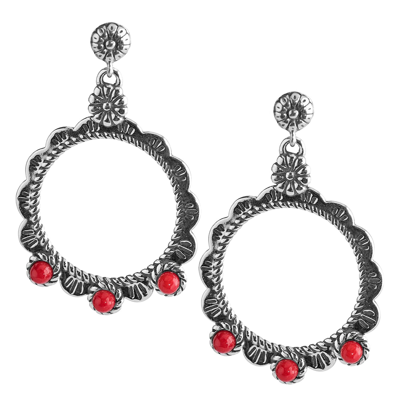 American West Sterling Silver Red Coral Drop Earrings