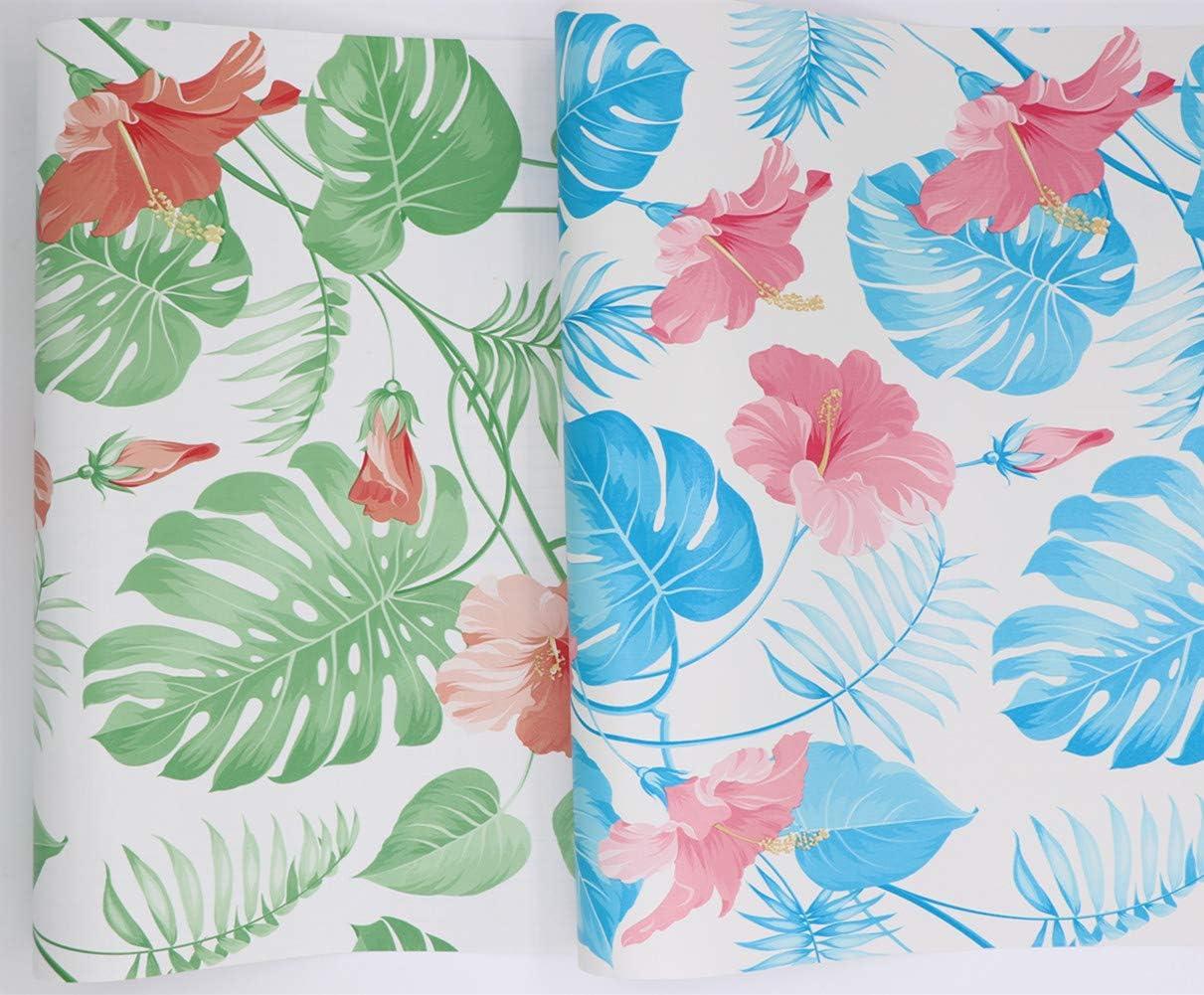 Hode Tropical Papier Adhesif Decoratif pour Meuble Porte Decoration Mural Peinture Autocollant Vert Feuilles 45X200cm