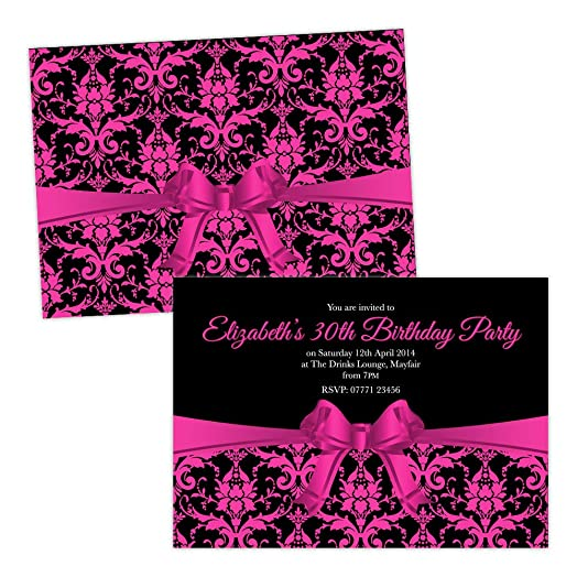 Personalised birthday party invitations damask bow pink black free personalised birthday party invitations damask bow pink black free draft free envelopes any age stopboris Images
