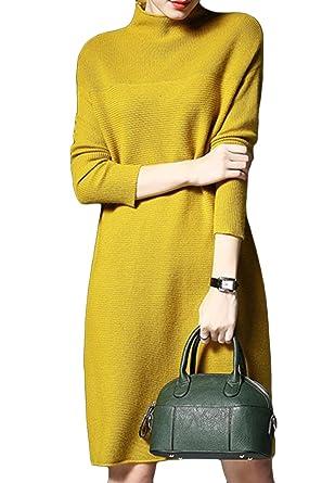 21525f8668e Asher Fashion Women s Loose Long Sleeve Turtleneck Knit Pullover Sweater  Dress Yellow US 2XL Asian