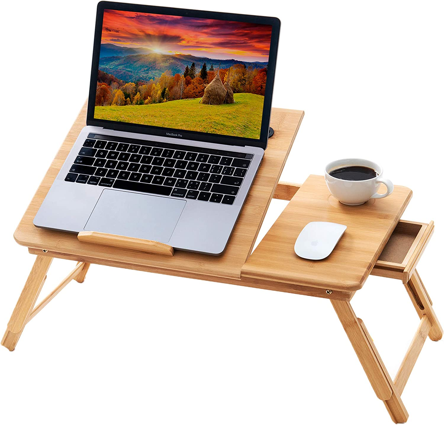 BMH 100% Natural Bamboo Foldable Laptop Desk Multi Tasking Adjustable Height Table Bed Tray with Drawer for Laptops Stand and Eating Writing Study