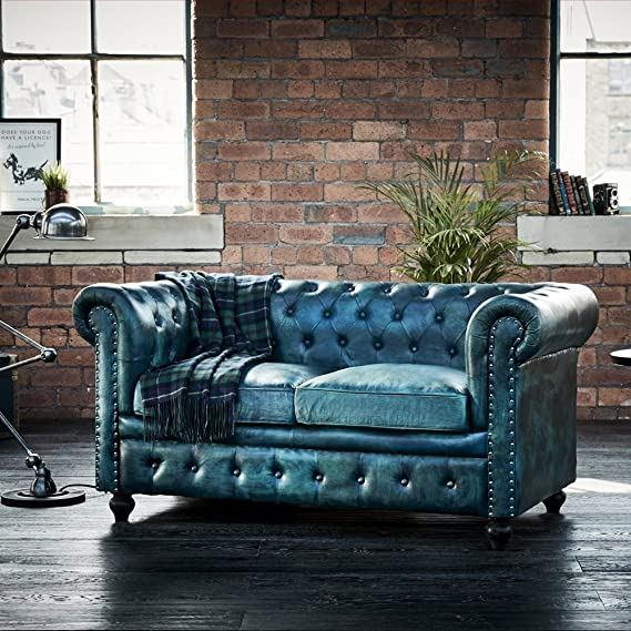 Leather Chesterfield 2 Seater Sofa Bottle Green: Amazon.co