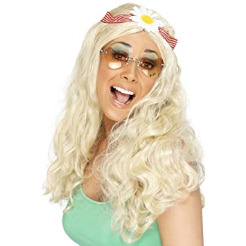 Peluca de pelo de la peluca RUBIA larga hippie con flores pelo topfbänder 70er para mujer