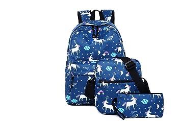 Miweel Conjunto de 3 Mochilas Escolares Mochila Niños Niñas Adolescentes Mochila Escolar + Bolsa De Hombro + Bolso de Pluma: Amazon.es: Electrónica