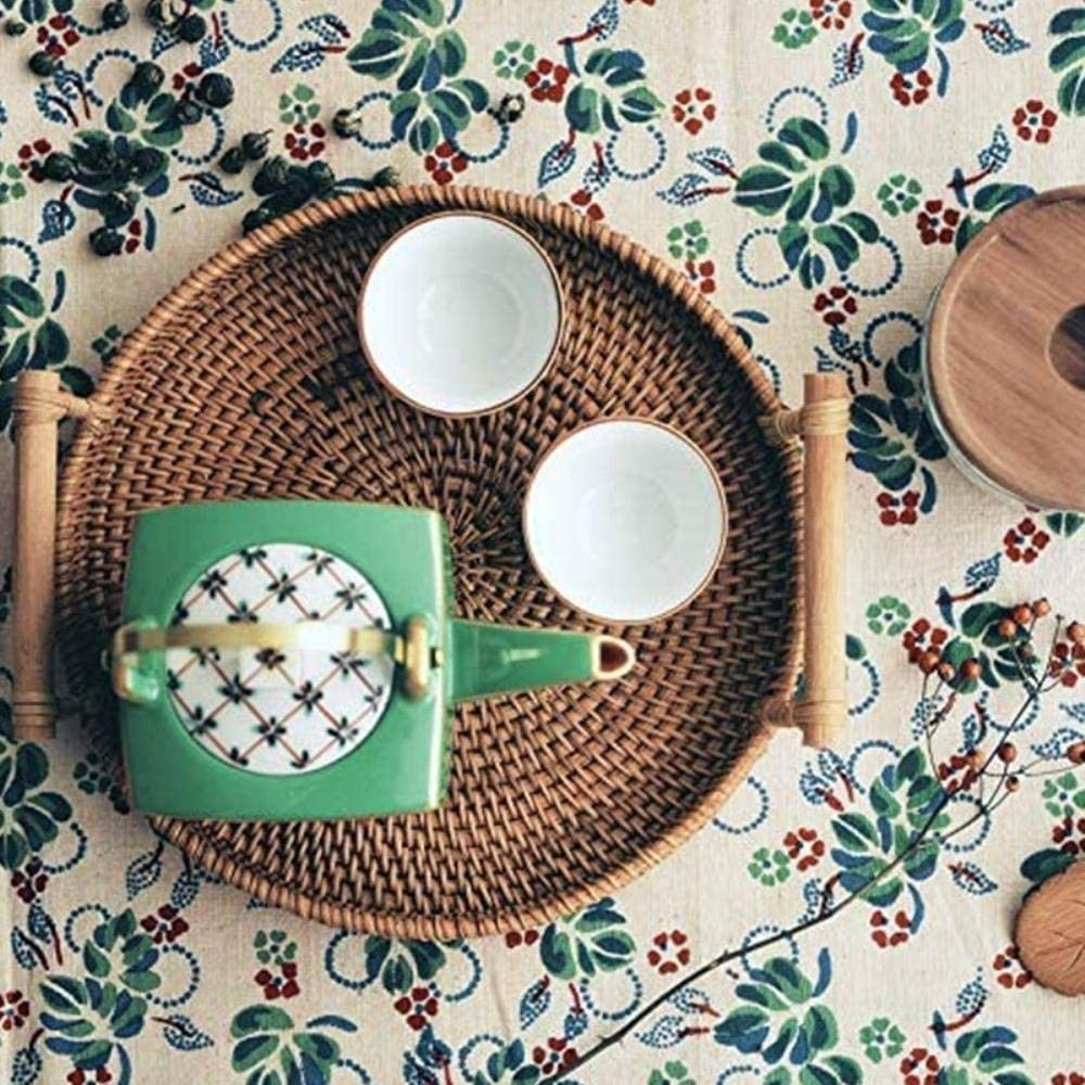 WYB Rattan Bread Basket Round Woven Tea Tray with Handles for Serving Dinner Parties Coffee Breakfast
