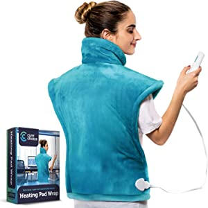 "Cure Choice XL Electric Heating Pad for Back Pain Relief, Ultra Soft 24""x33"" Heating pad for Muscle Cramps – Heated Pad with Adjustable Temperature Settings, Safe Auto Shut (Blue)"