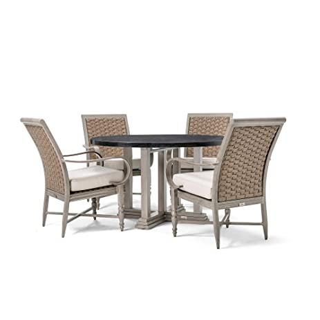 Blue Oak Outdoor Saylor Patio Furniture 5 Piece Dining Set (Round Natural Stone  Top Dining