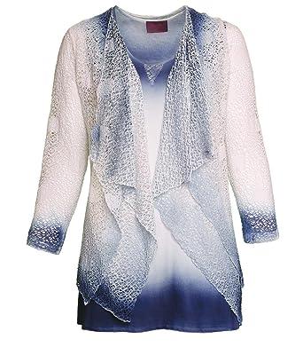 dc9ffa7786 Sempre Piu Twin-Set twinsets Damen Top und Jacke Blau Weiß elegant Strick  klassisch in