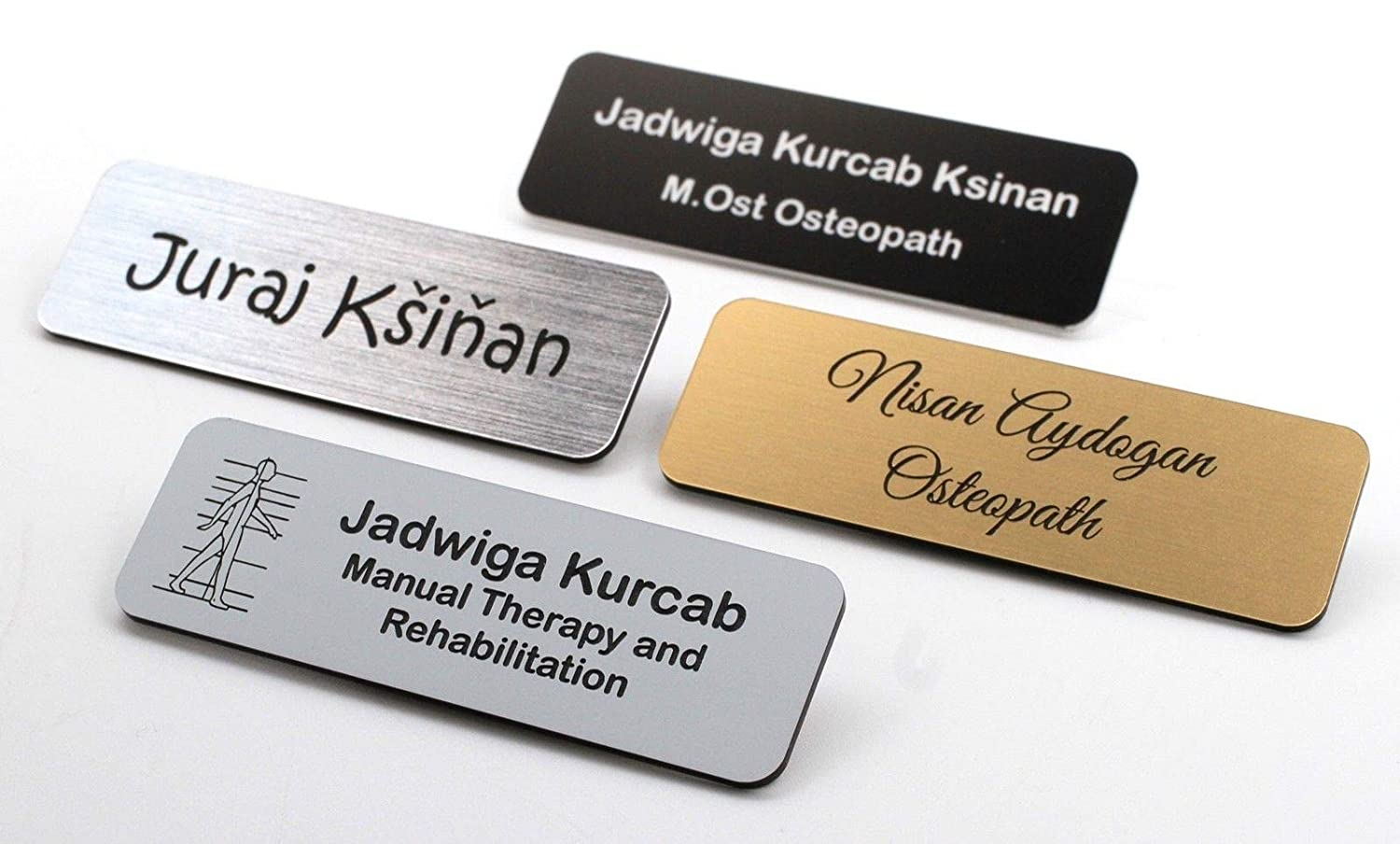 Personalized Premium Name Badge Staff ID Tag Custom Bespoke Engraved with Pin CustomDesign.Shop