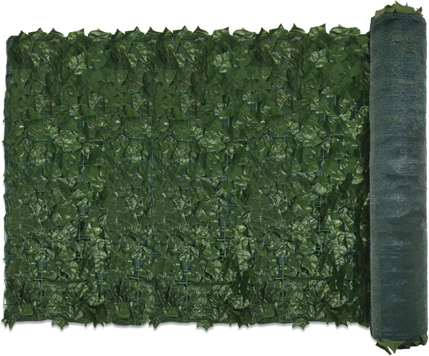 """E&K Sunrise 39"""" x 97"""" Faux Ivy Privacy Fence Screen with Mesh Back-Artificial Leaf Vine Hedge Outdoor Decor-Garden Backyard Decoration Panels Fence Cover - Set of 1"""